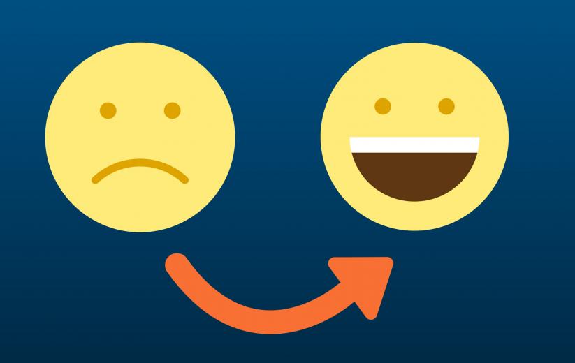 Icons von traurig zu glücklich
