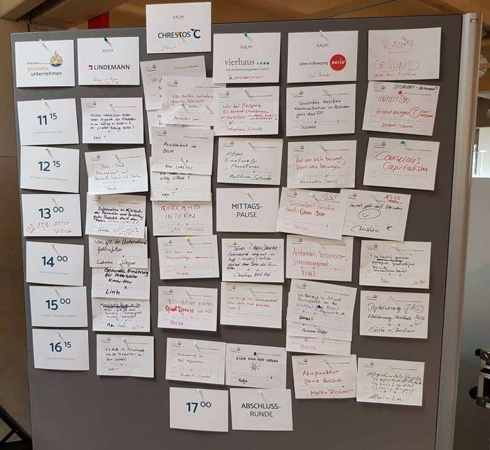 Barcamp gesundes Unternehmen Session board
